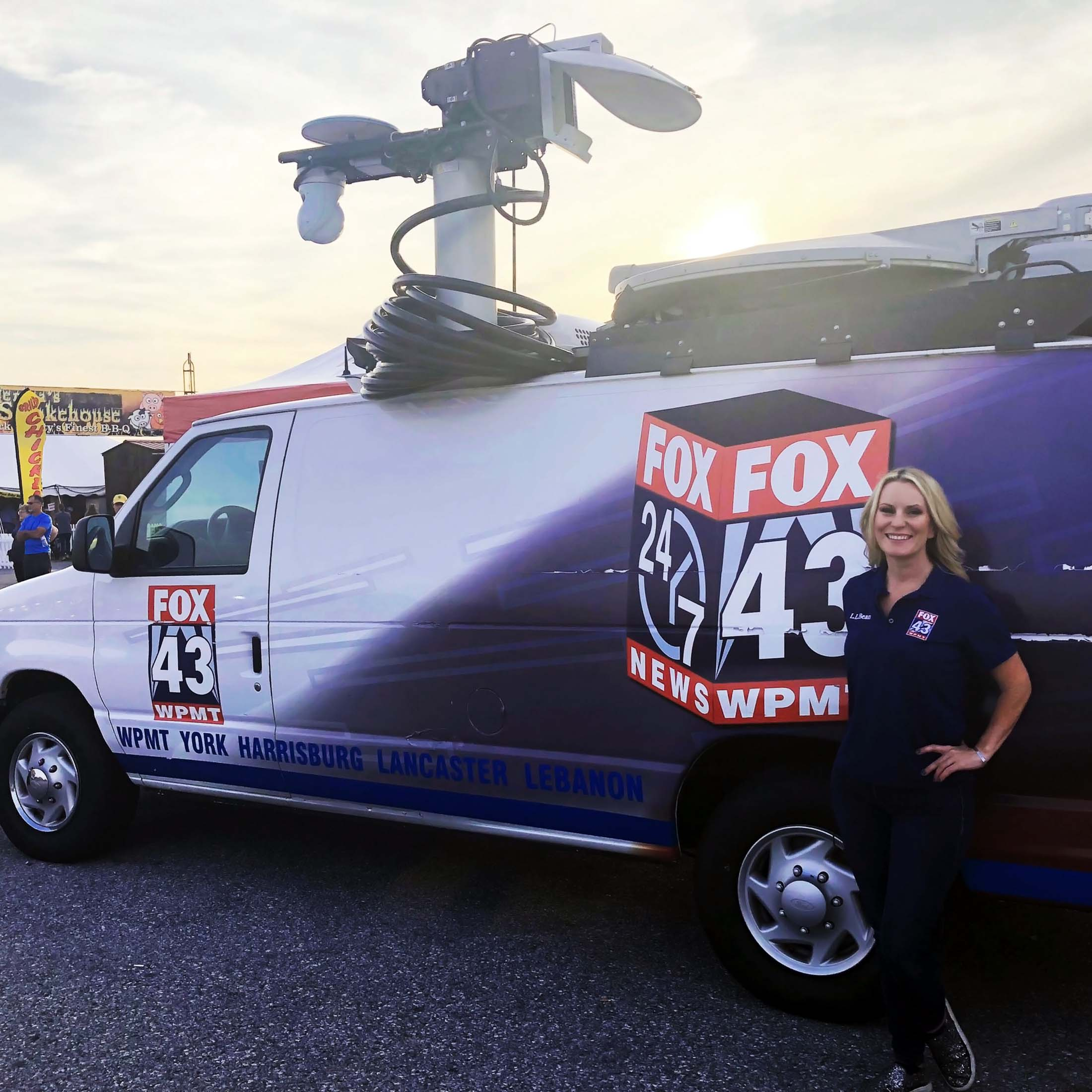 Jamie Bittner with FOX 43 News Van