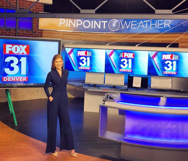 Jessica Lebel at news studio of Fox News Denver