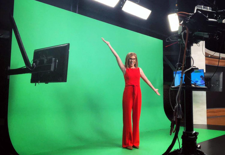 Jessica Lebel on green screen of Fox News Denver
