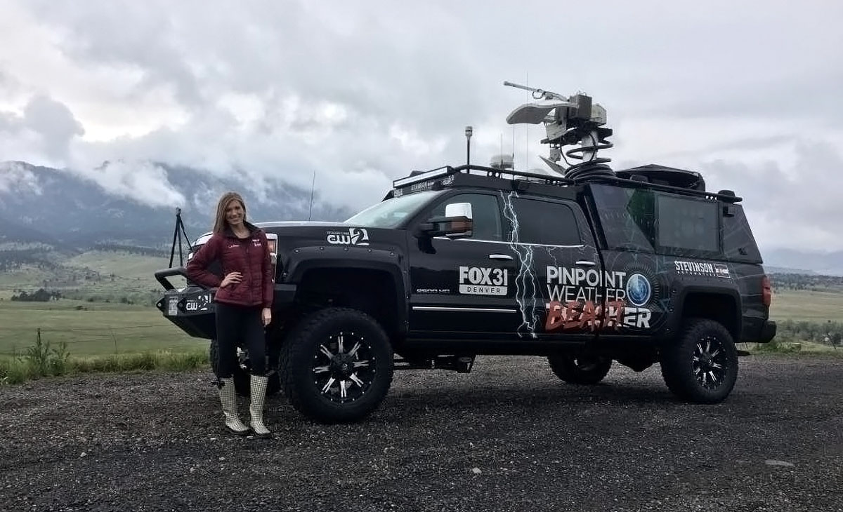 Fox News Denver host Jessica Lebel with Pinpoint Weather Beast