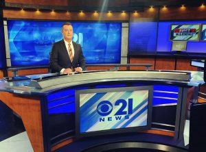 Brian Sheehan at studio of CBS 21 News