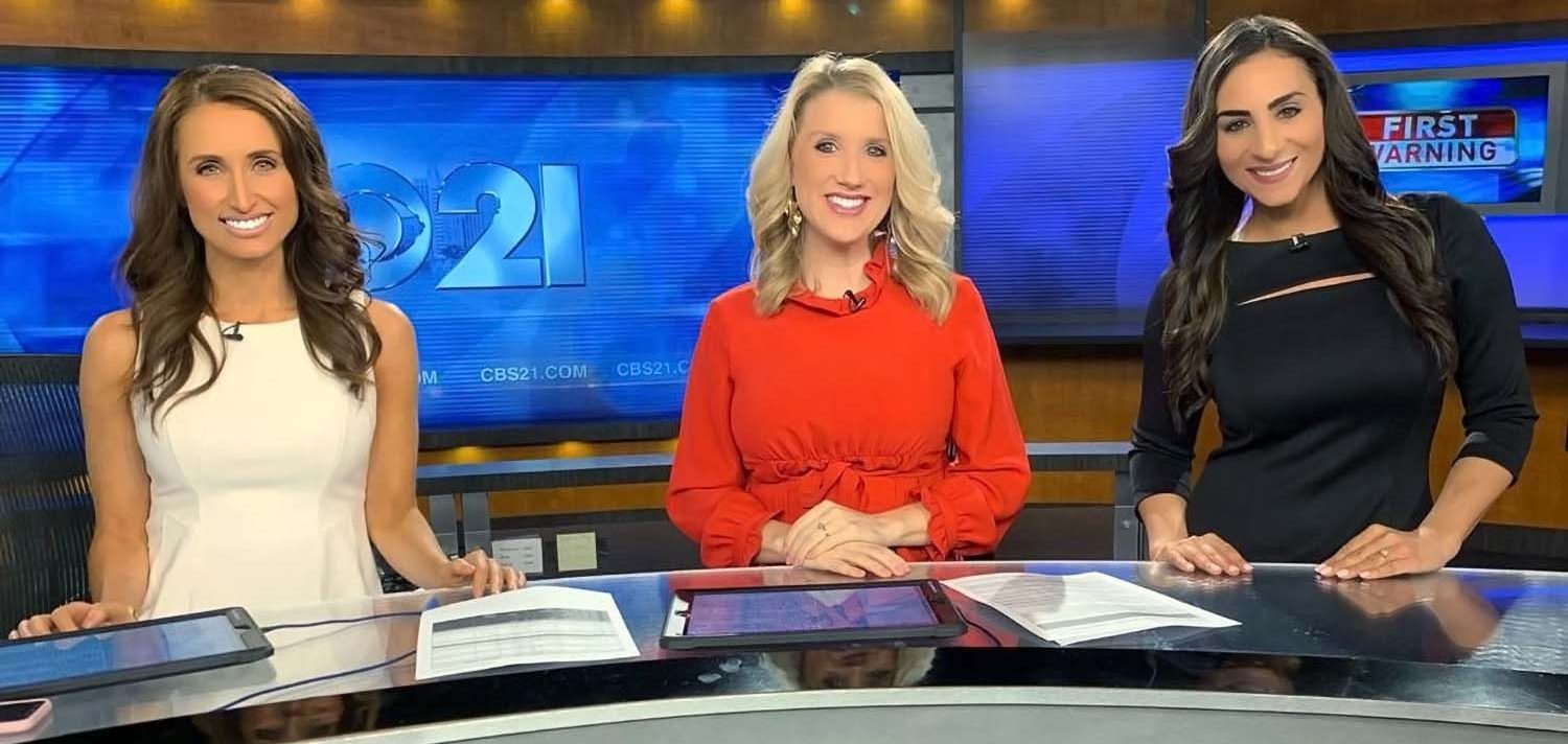 Jessie Lee McDonough, Jasmine Brooks, and Michelle Rotella, sitting at the set of CBS 21 News