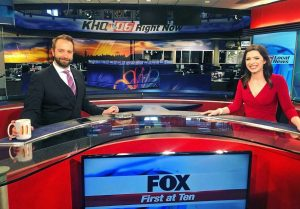 Cory Howard and Sydnee Stelle on set of KHQ Local News