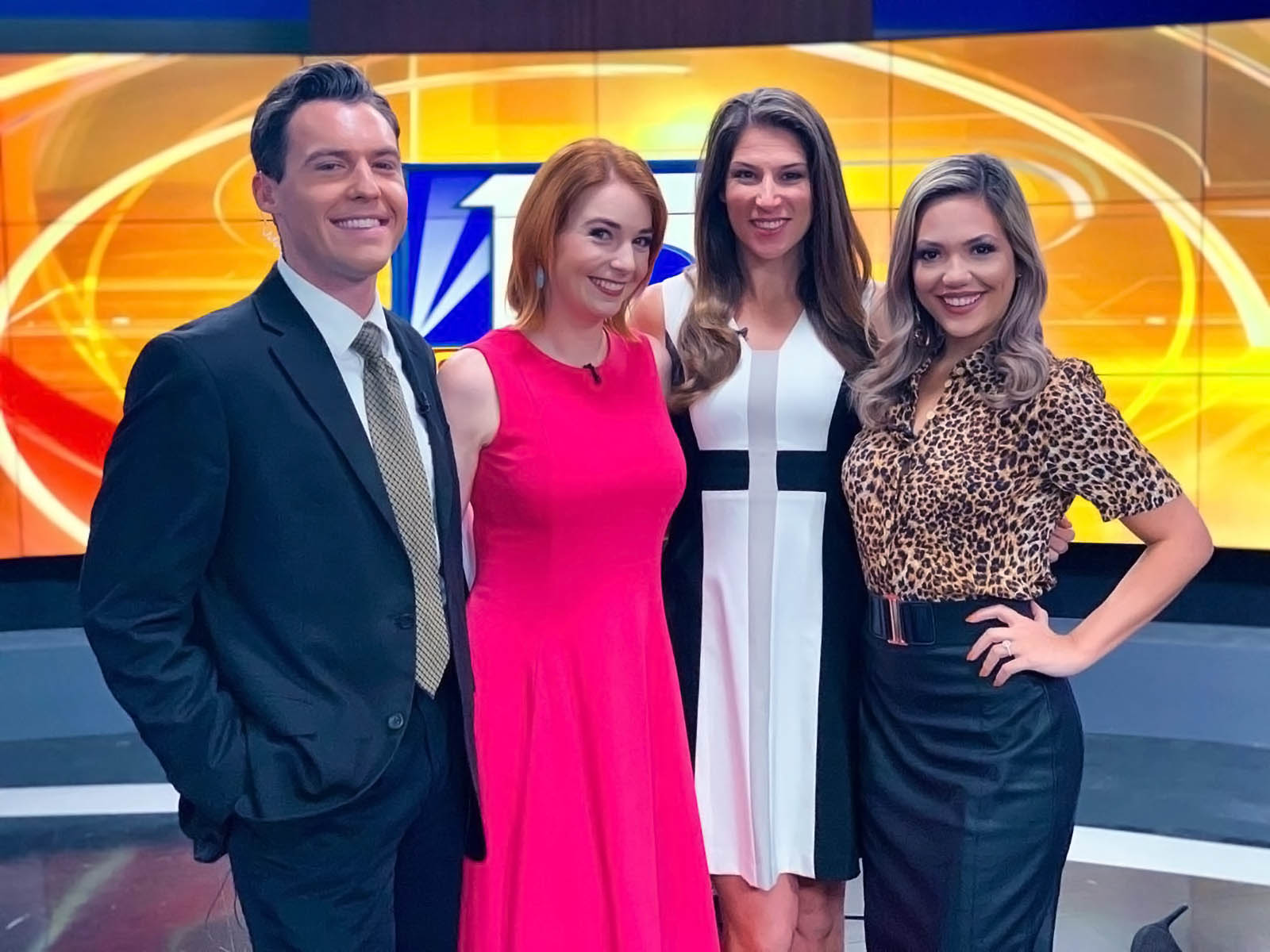 Matthew McClellan, Brainey, Kellie Cowan, and Vanessa Ruffes at Fox 13 News Tampa Bay
