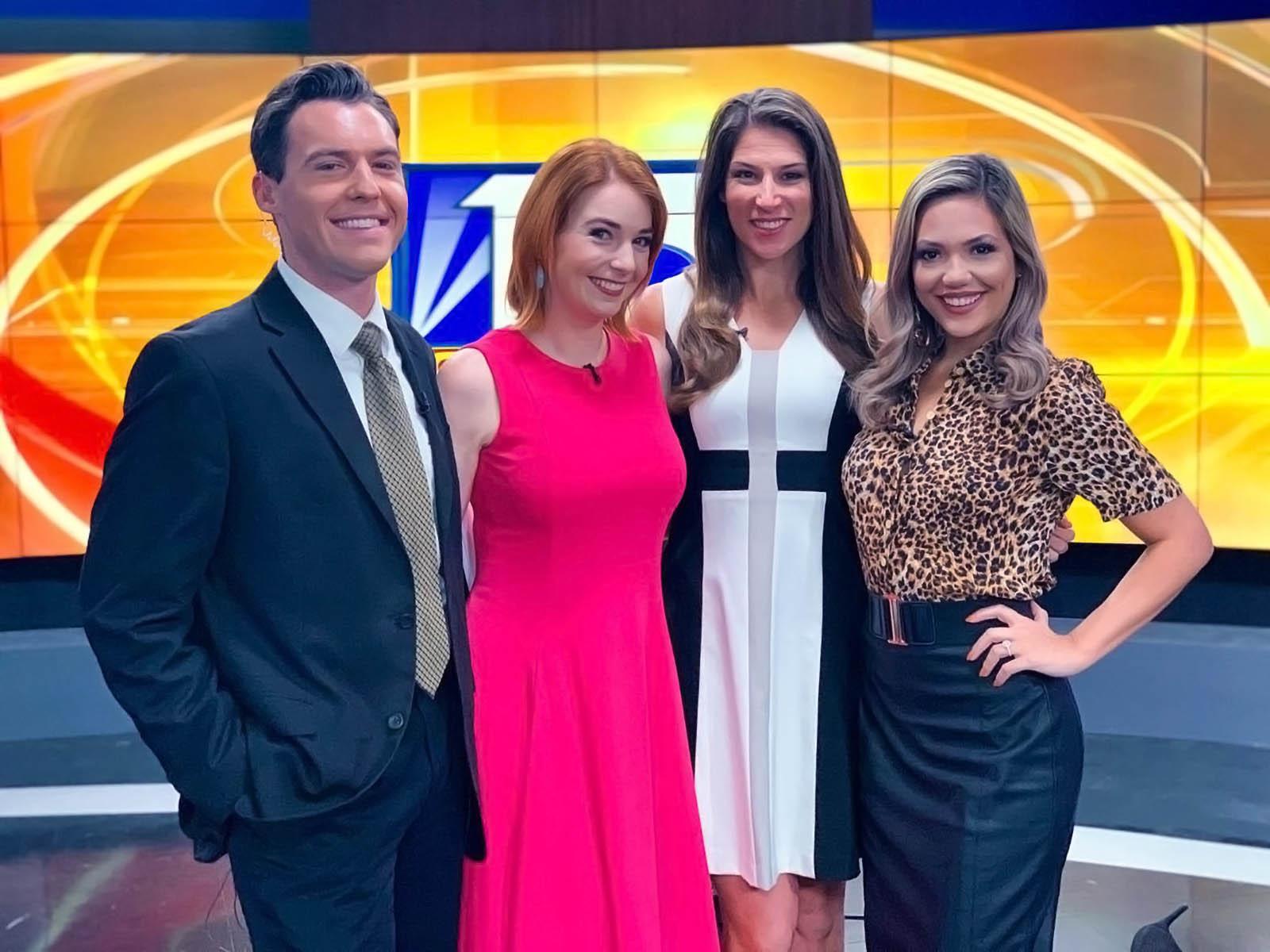 Matthew McClellan, Brainey, Kellie Cowan, and Vanessa Ruffes at Fox 13 News Tampa Bay