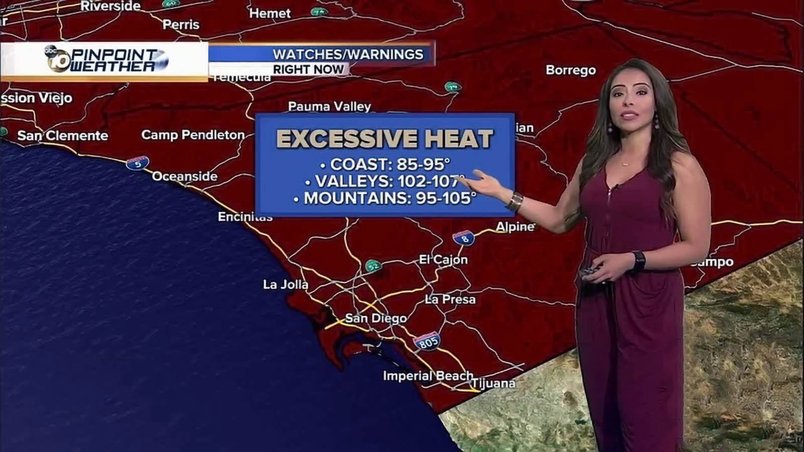 Angelica Campos delivering weather news