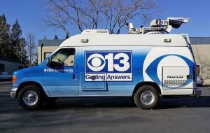 Live Streaming satellite van of CBS 13 Sacramento