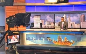Frank Wiley ready for news briefing at WEWS News studio