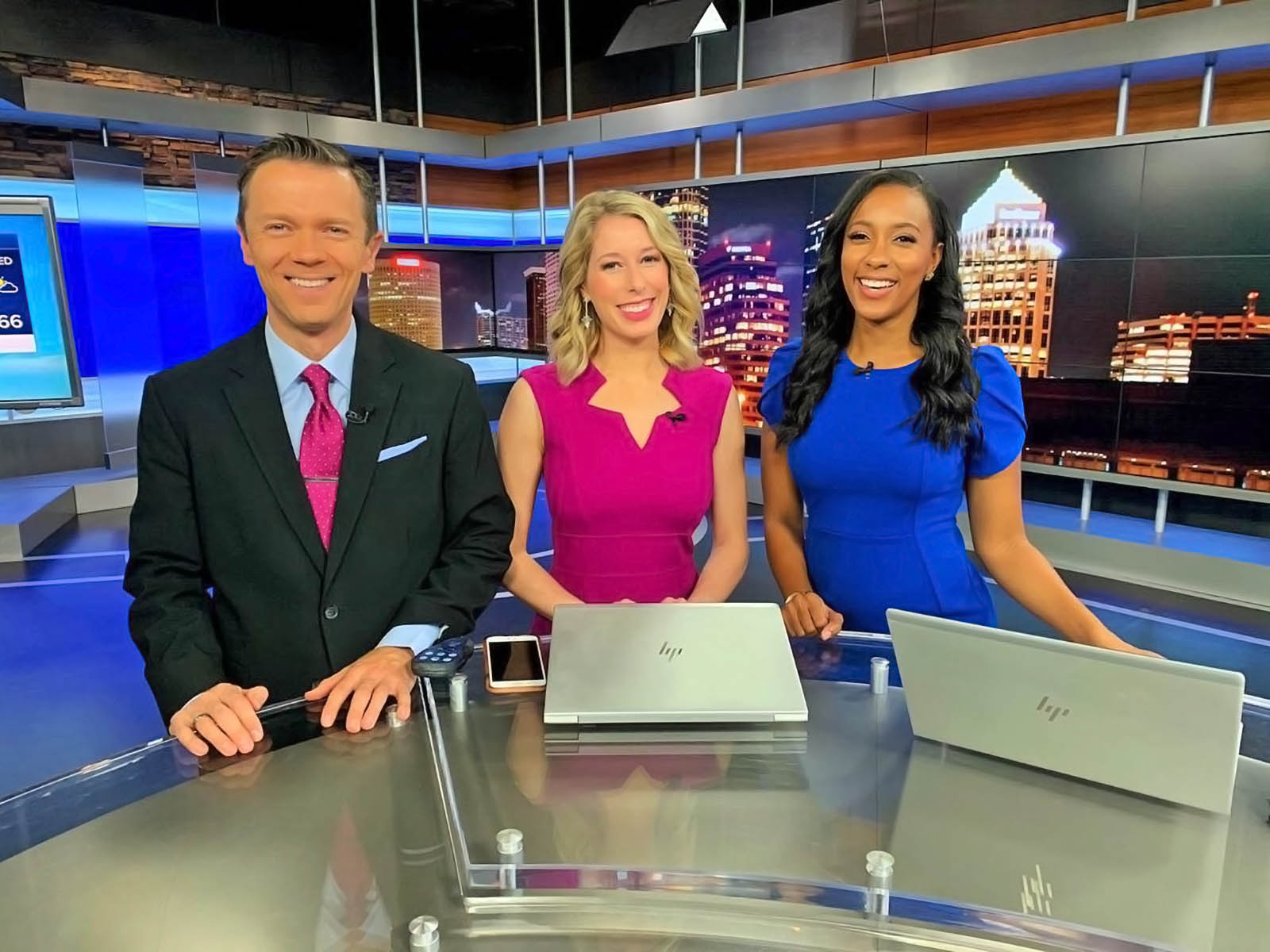 Greg Dee, Sarah Phinney, and Jasmine Styles at ABC Action News Live Studio