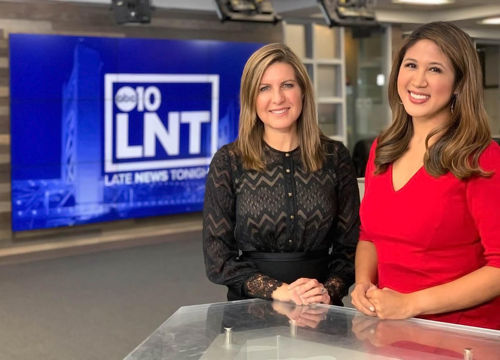 Monica Gray and Ananda Rochita on set of ABC 10 News Sacramento