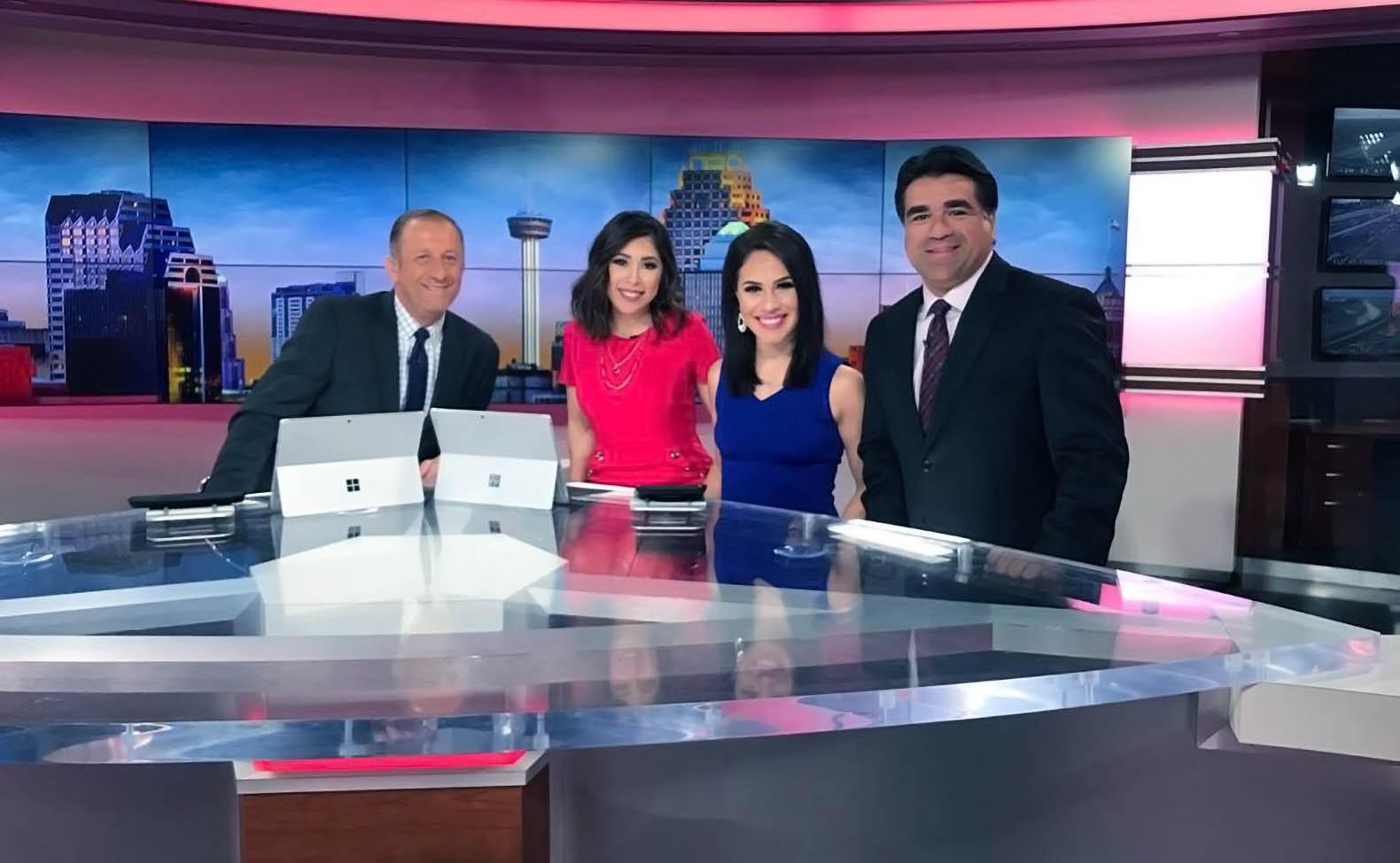 Paul Mireles, Audrey Castoreno, and Alexis on set