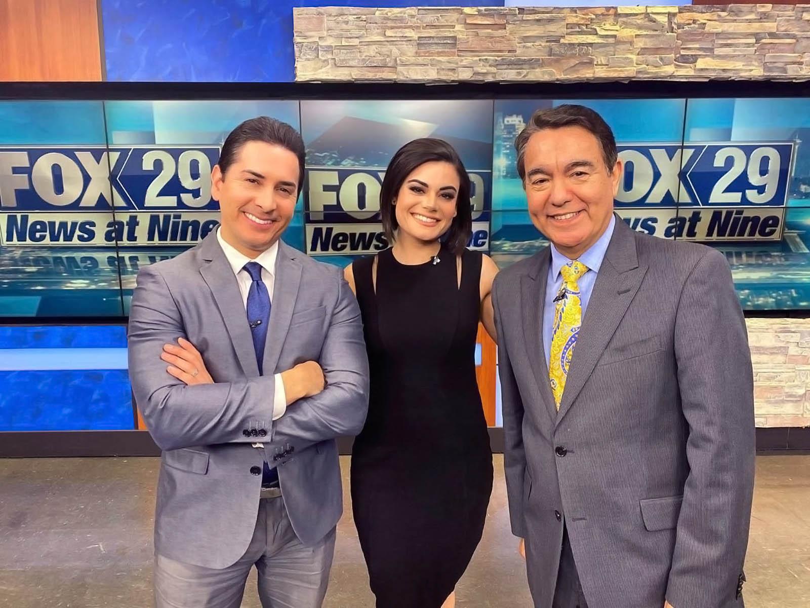 Ryan Wolf, Camilla Rambaldi, and Alex Garcia at Studio of Fox 29 San Antonio