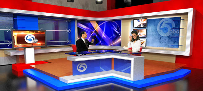 WEWS News newscasters at broadcasting studio