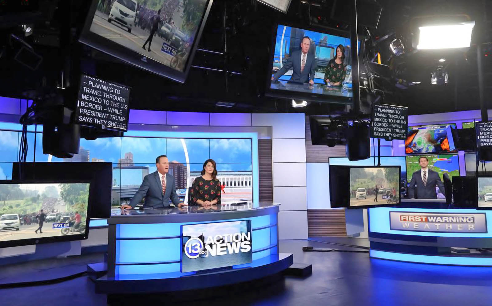 Newscasters of WTVG 13abc covering news bulletin