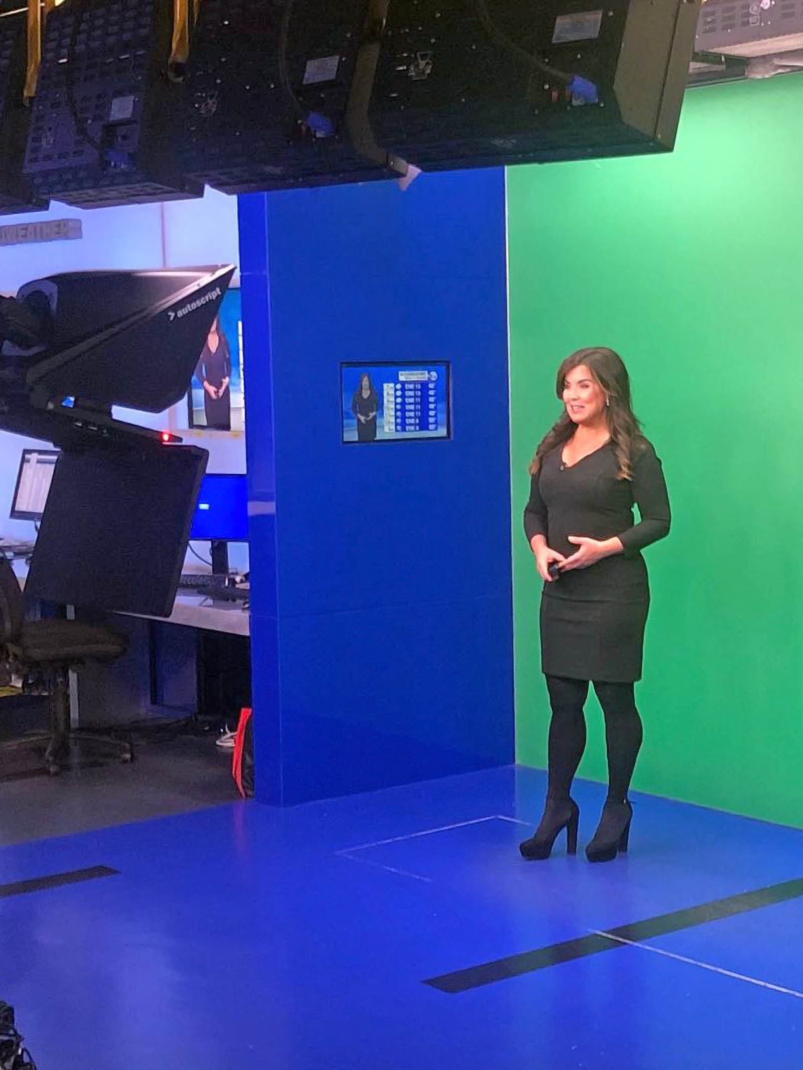 Amy Freeze on green screen for recording at WABC News