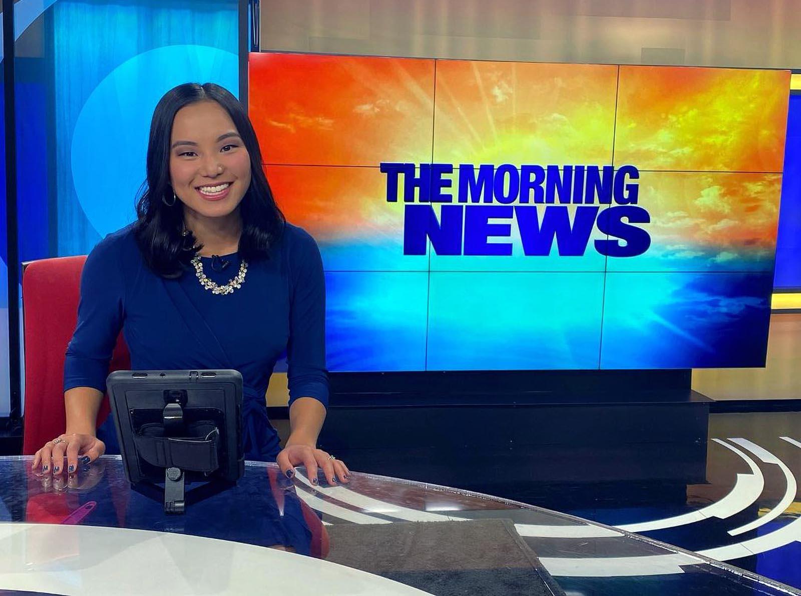 Adrienne Smith briefing morning news on WSYR 9