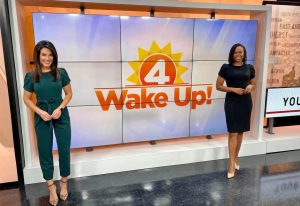 Mel Orlins with another newscaster at WakeUp show