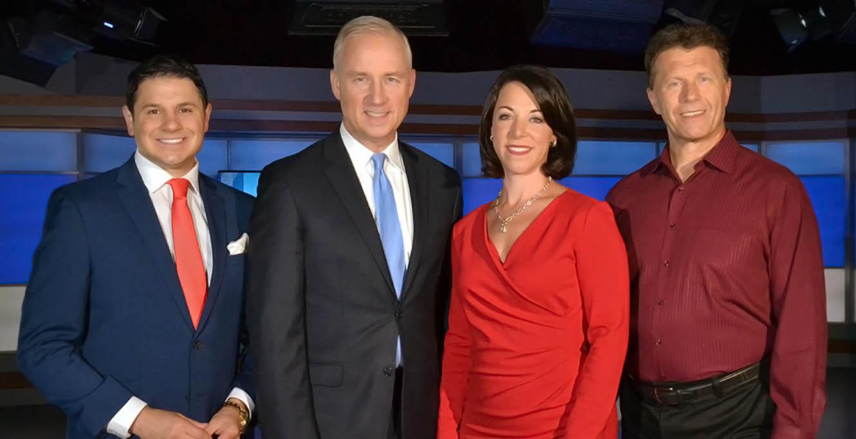Niko Tamurian, Matt Mulcahy, Megan Coleman, and Wayne Mahar standing at WSTM 3 News