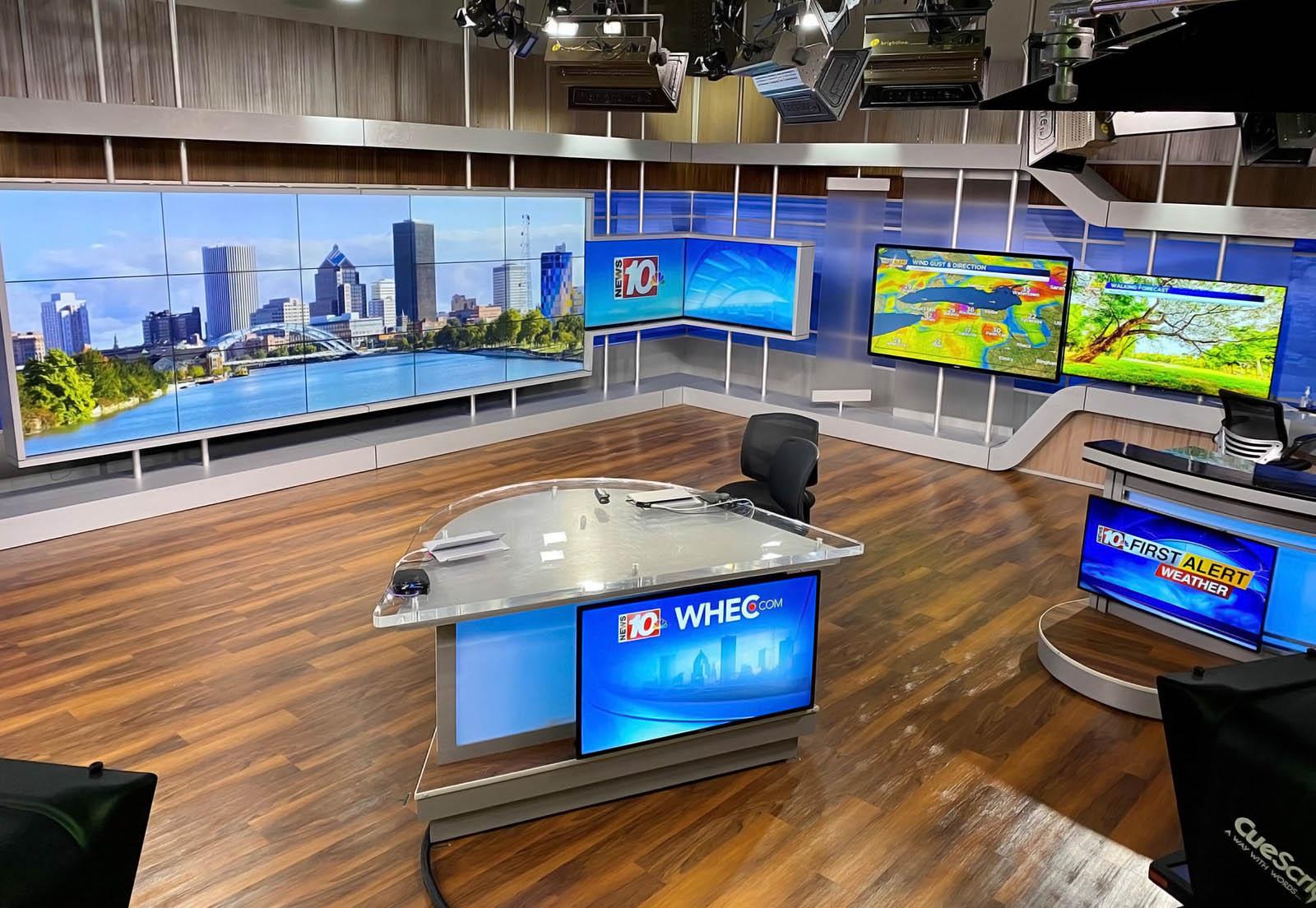 WHEC 10 News live broadcasting studio
