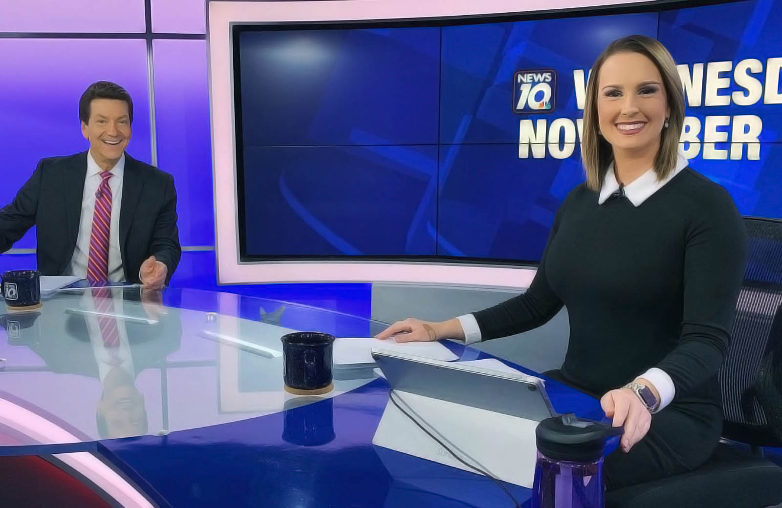 Mallory Anderson with another anchor at WILX News