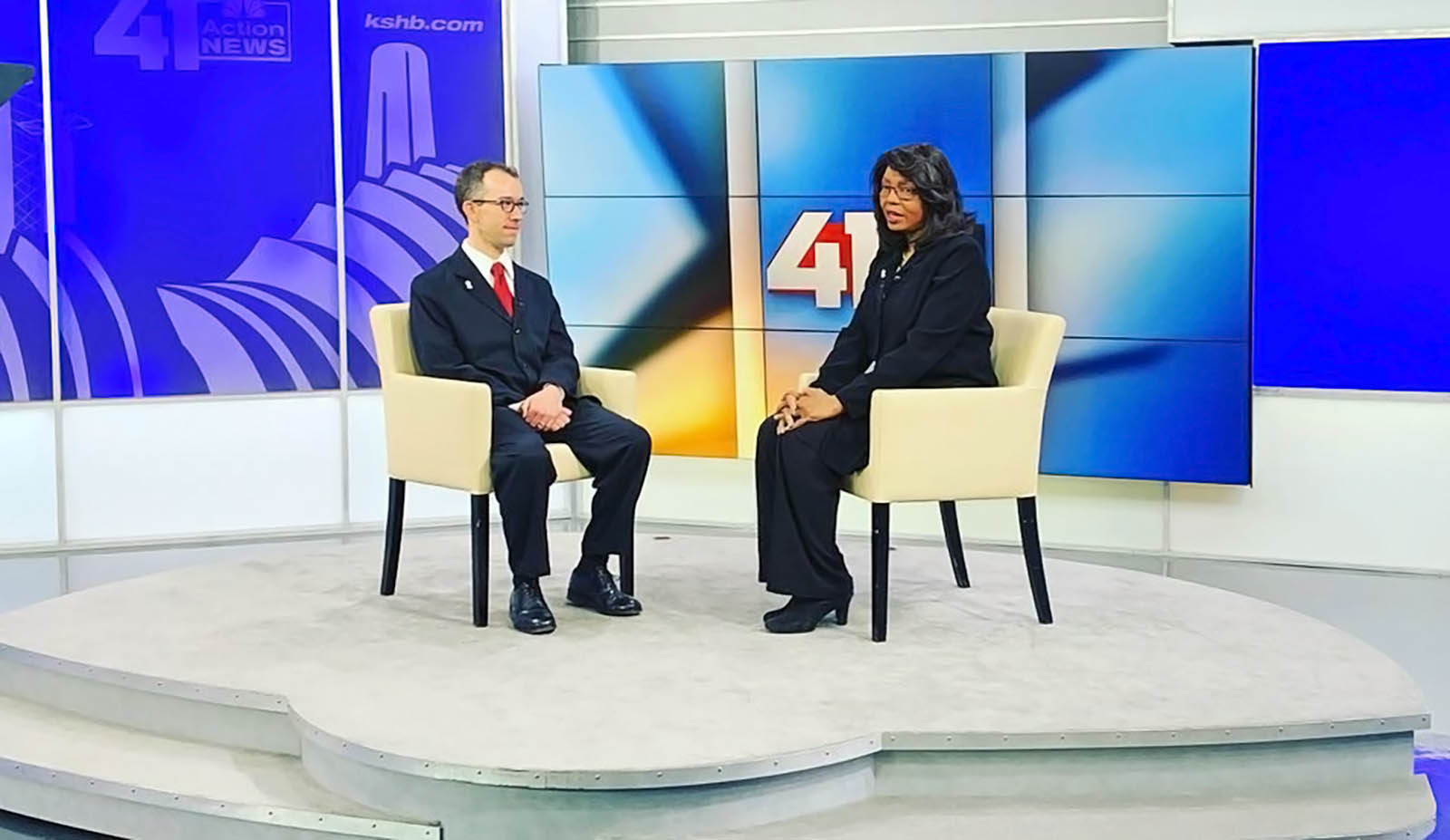 Cynthia Newsome interviewing at KSHB 41 News studio