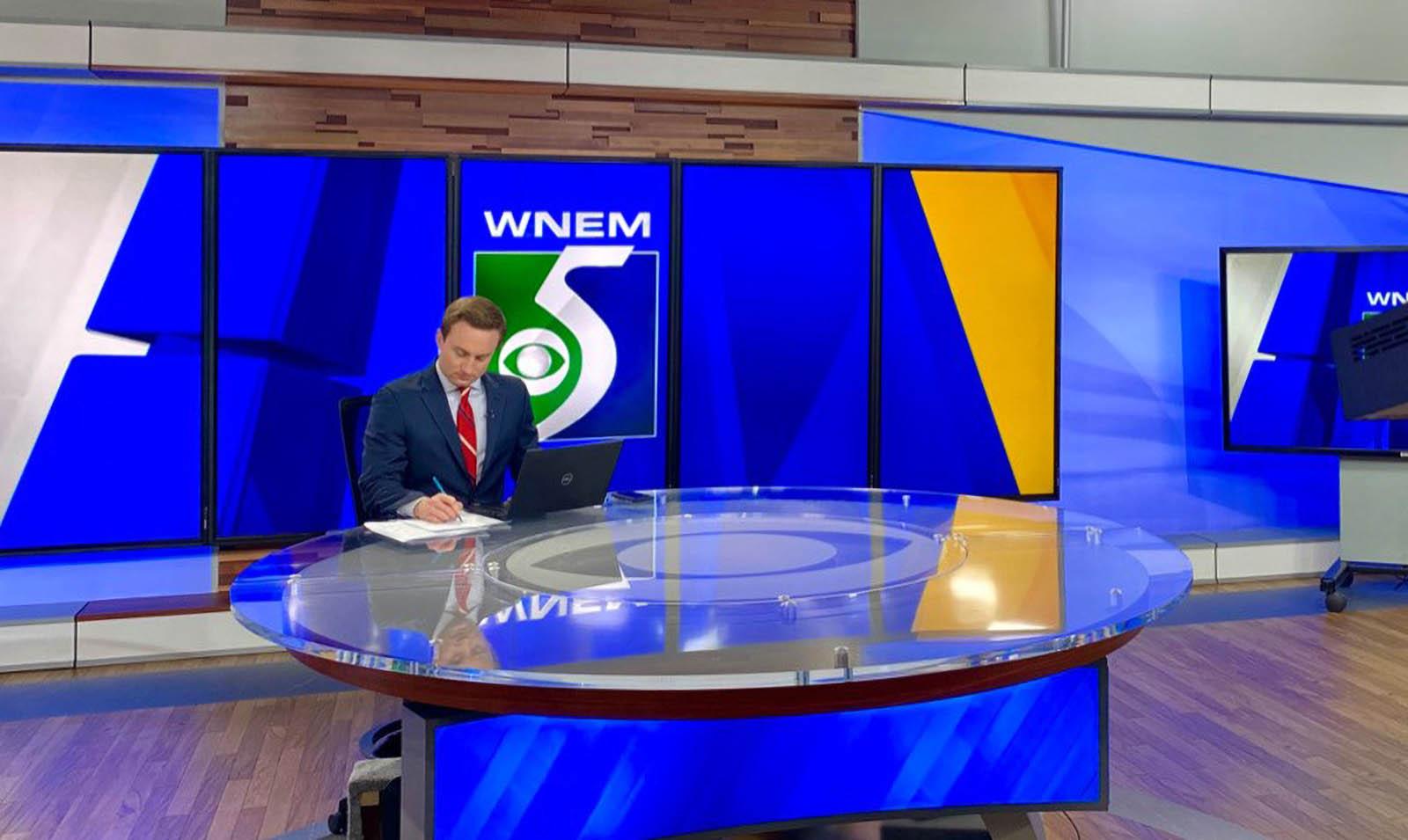 Trevor Sochocki covering news for WNEM TV5