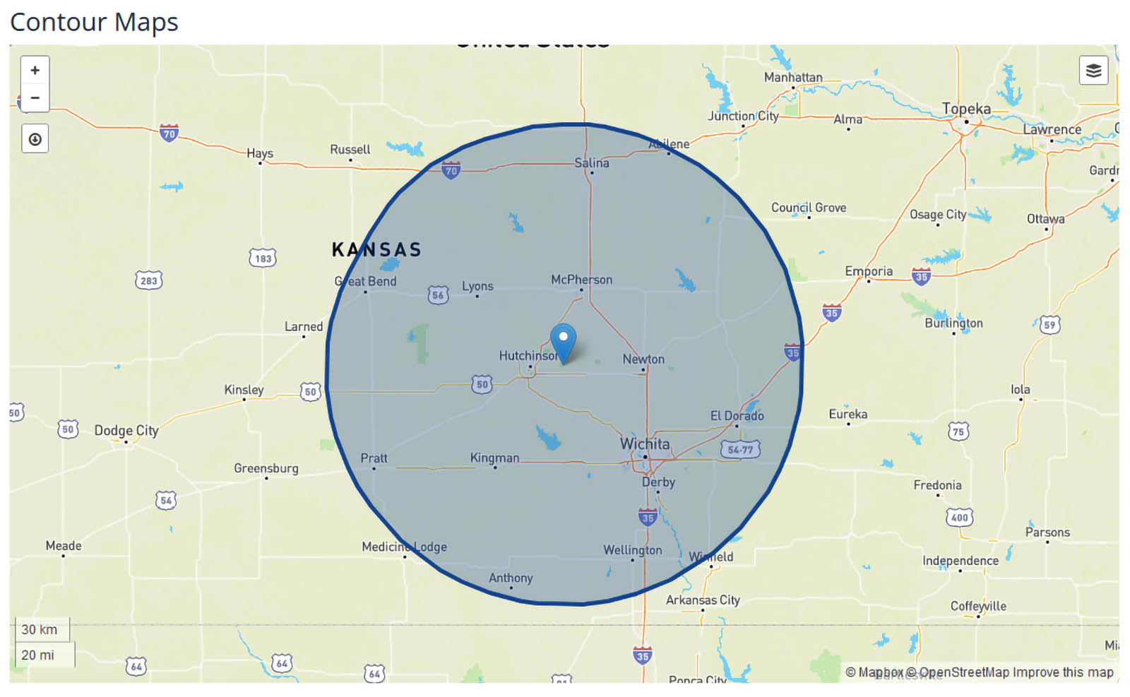 KWCH News Coverage Map